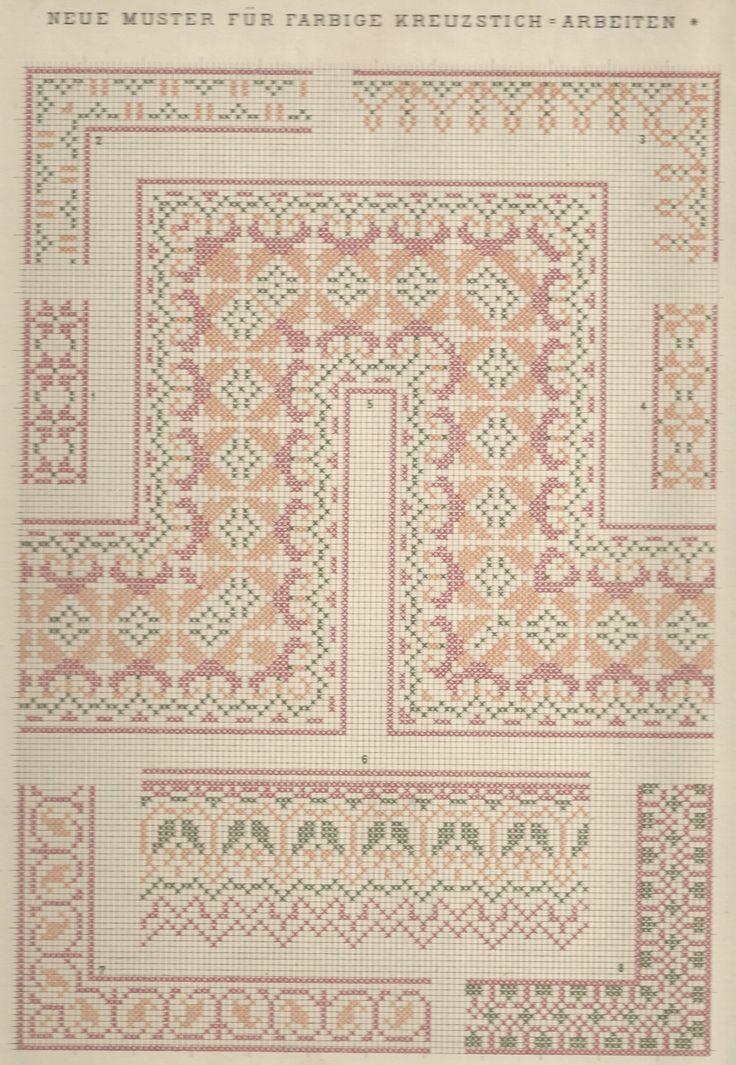 1 / Blatt 13 - Neue Muster-Vorlagen Fur Farbige Kreuzstich-Arbeiten - A. Scheffers - Published by J. M. Gebhardt's Verlag, Leopold Gebhardt, 1887