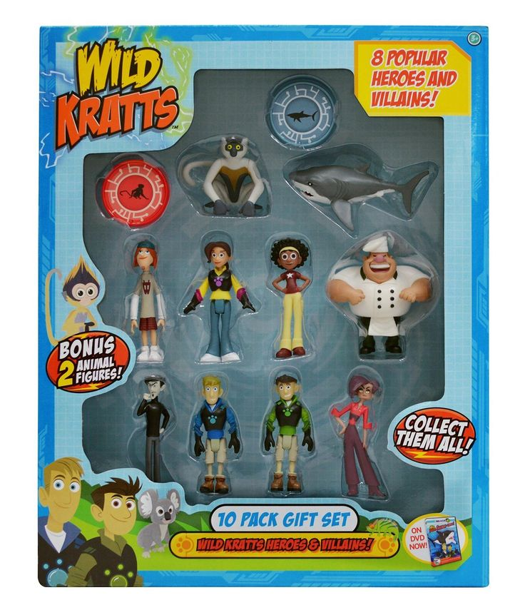"""Wild Kratts Toys 10-Pack Action Figure Gift Set. Wild Kratts Toys Animal Power Action Figure Gift Set - 10 Pack. Gift set includes: eight 3"""" figures: Chris, Martin, Aviva Koki, Jimmy, Zach Donita and Gourmand--and two animal figures (Great White Shark and Sifaka Lemur) / Also included are two collectible power discs. The Wild Kratts action figures are sculpted to look exactly like the Kratts brothers and their corresponding creature pal. Great gift for the devoted Wild Kratts fan--the..."""