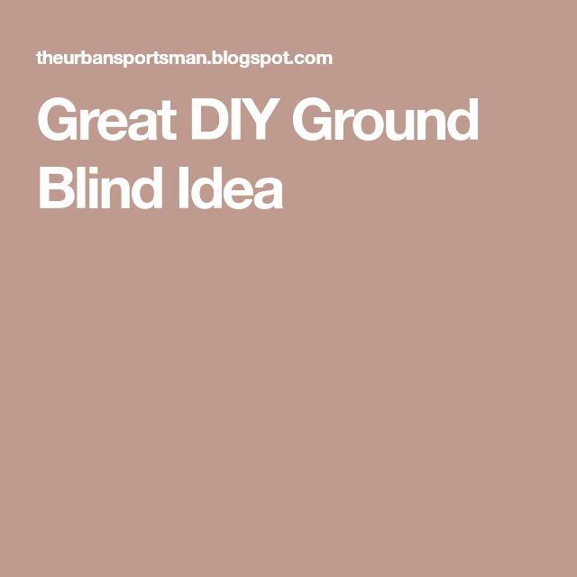 Great DIY Ground Blind Idea
