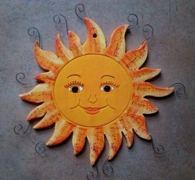 """Keramické sluníčko """"okaté"""", závěsné na zeď :: Keramika Andreas"""