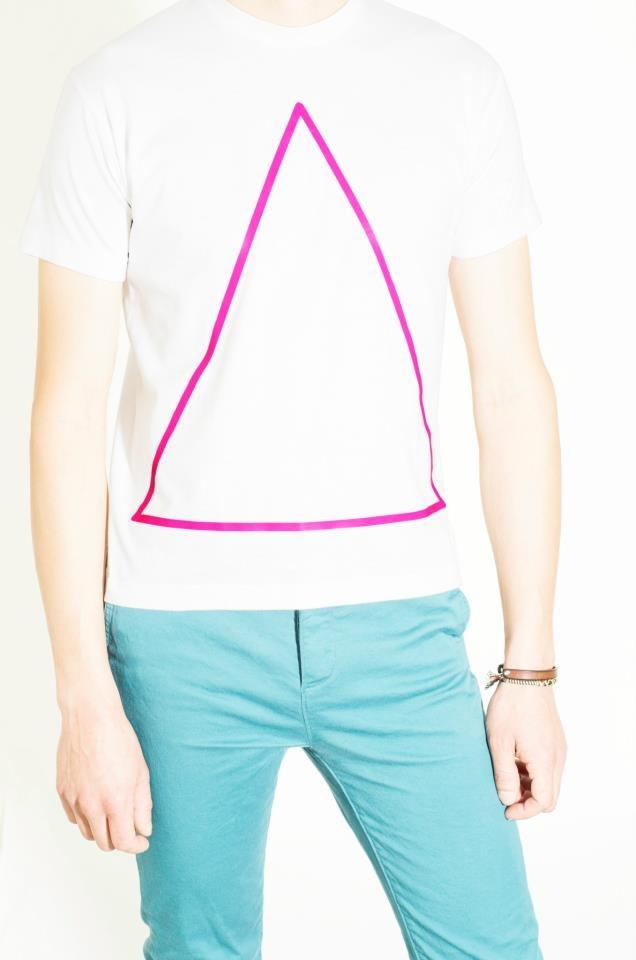 Cotton White T-Shirt Design : Neon Triangle