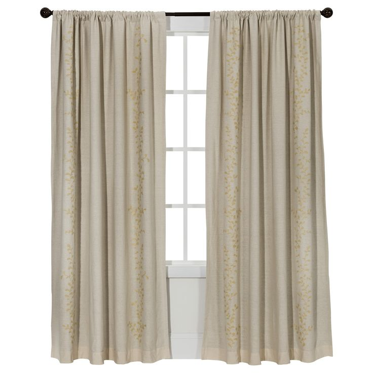 "Embroidered Vine Light Blocking Curtain Panel Cream (Ivory) (54""X95"") - Threshold"