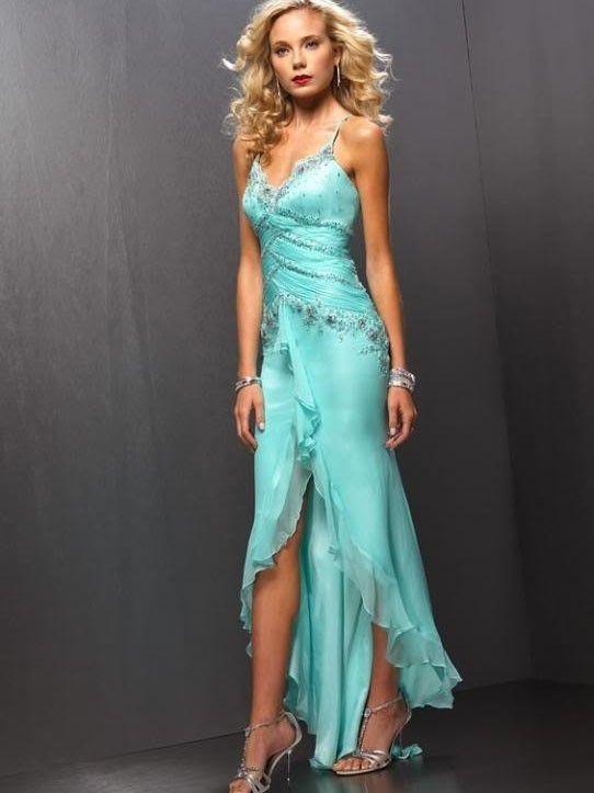 A-Line/Princess Spaghetti Straps Sleeveless Chiffon Asymmetrical Beading Dresses