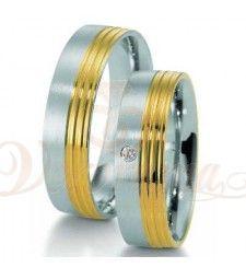 Βέρες γάμου από πλατίνα και χρυσό με διαμάντι Breuning 9023-9024