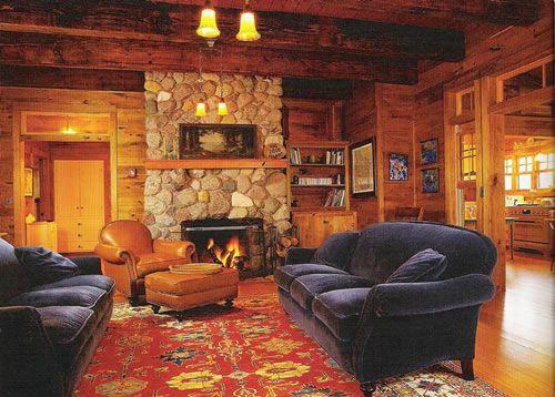 Screen Porch Cabin rock fireplace Shelter Pinterest