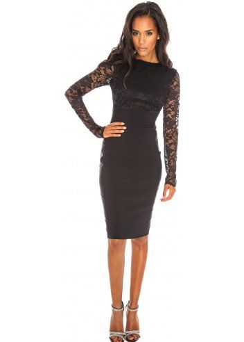 Designer black dresses with sleeves
