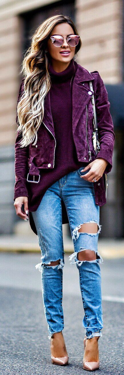 Cute spring outfits /  Purple Suede Jacket / Purple Knit / Destroyed Denim / Nude Pumps