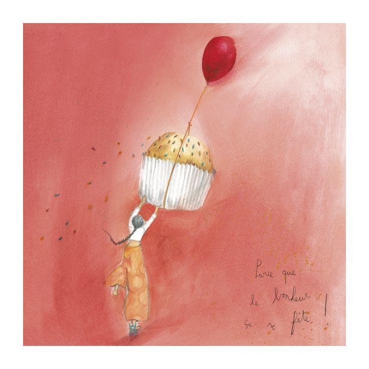 """Anne-Sophie Rutsaert carte postale carrée (14 cm) """"Parce que le bonheur ça se fête"""" - Arret-sur-image.eu"""