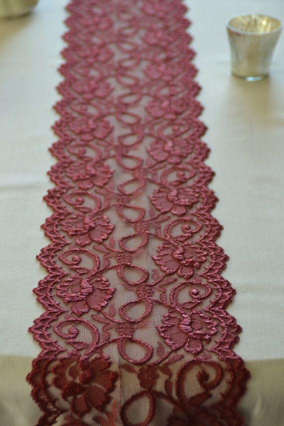 "$1.99 for 1 yard Burgundy / Wine Lace Trim 7"" Wide  by 1 Yard Lace Table Runner Lace Apparel Lace DIY Wedding"
