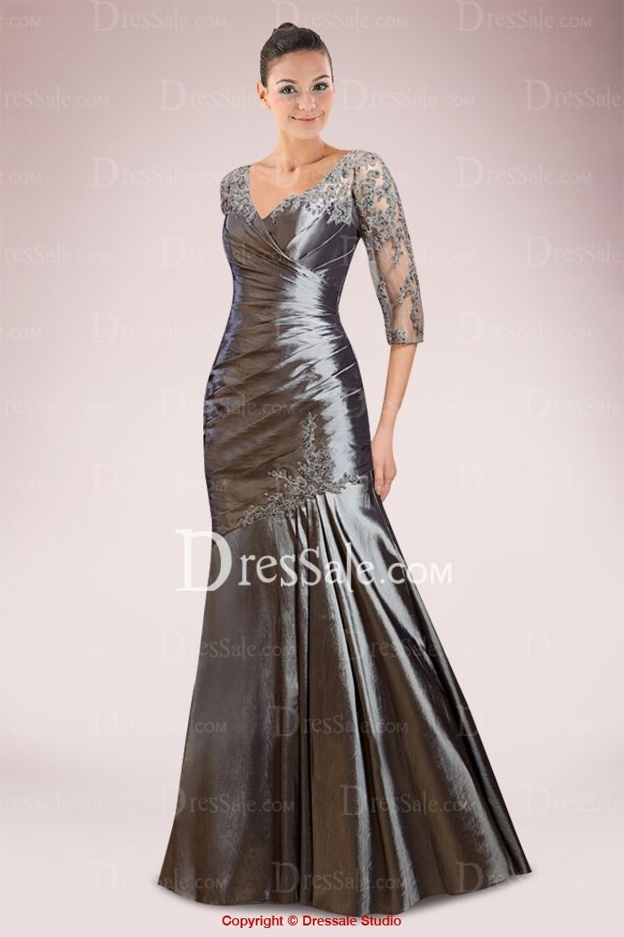 Low-key Taffeta Mermaid Mother of Bride Gown Enhanced with Pleated Bodice and Illusion Lace Panel