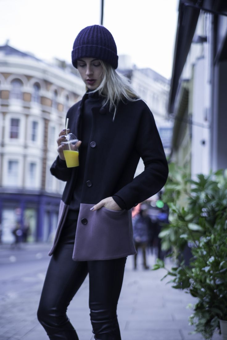 Charlotte Zimbehl's dolman sleeve wool blend jacket 'The Julie' in the colour black and mauve. Made in London.