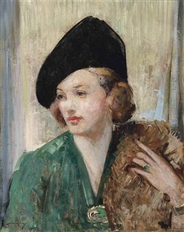 William Lee-Hankey Portrait of a woman in a green dress with a fur stole and black hat  Artwork by William Lee-Hankey, Portrait of a woman in a green dress with a fur stole and black hat, Made of oil on board Enlarge Print Dimensions 24 x 20 in. (61 x 50.8 cm.) Medium oil on board
