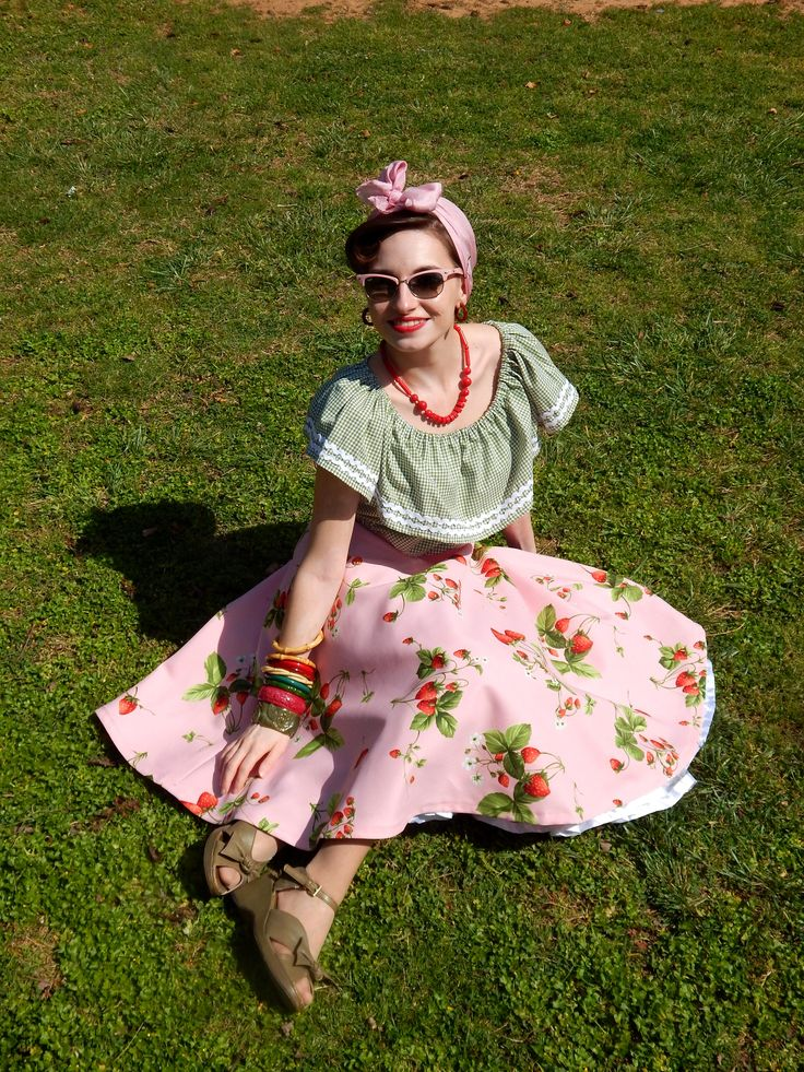 Custom made vintage reproduction strawberry full skirt and gingham peasant top.