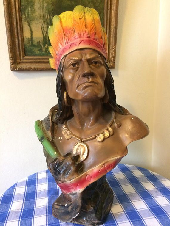 Antique Native American Iroquois Cigar Store Indian Bust