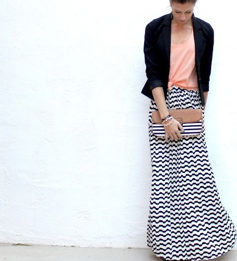 maxi chevron skirt. Cute look for those cooler spring days. #loledeux