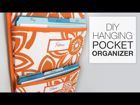 Learn how to make a personalized hanging pocket organizer with this DIY tutorial. This pocket organizer is perfect for fitting file folders but can also be u...