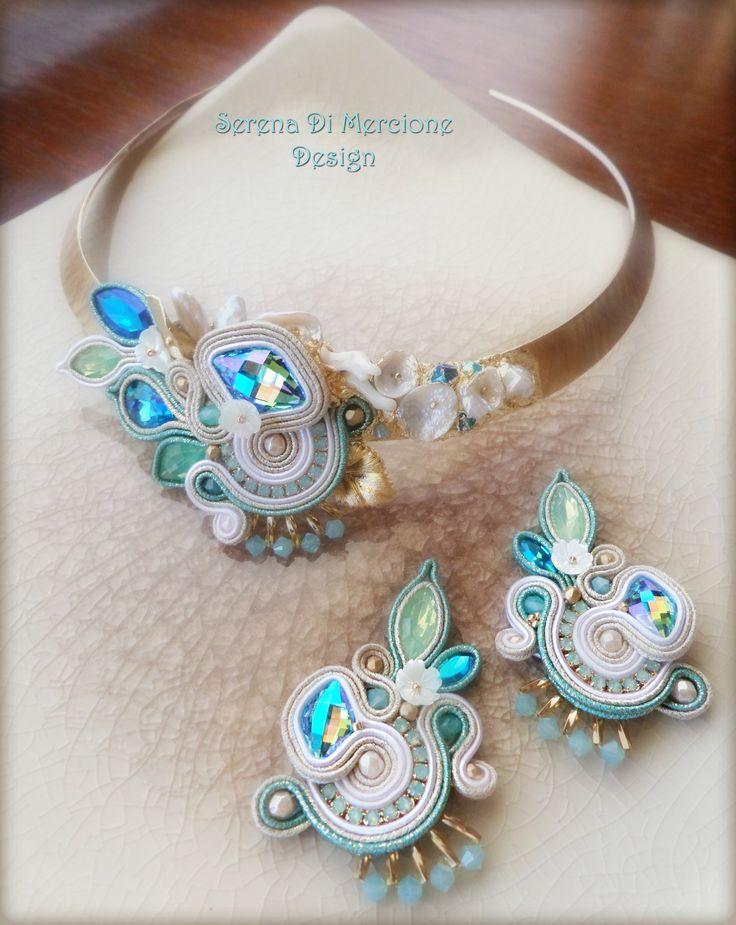 Necklace by Serena Di Mercione --- soutache - swarovski - pearls - materic effect