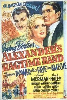 "Alexander's Ragtime Band (1938) is a film released by Twentieth Century Fox that takes its name from the 1911 Irving Berlin (1888-1989) song ""Alexander's Ragtime Band"" to tell a story of a society boy who scandalizes his family by pursuing a career in Ragtime instead of in ""serious"" music."
