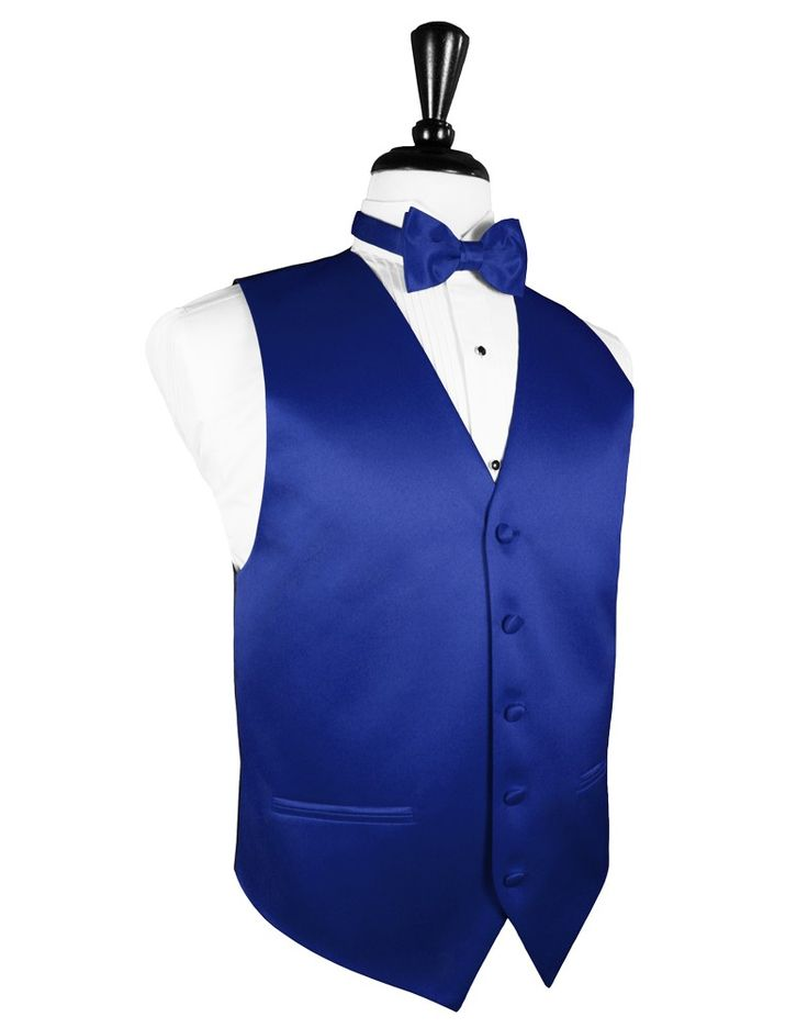 "royal blue black and white tux | Royal Blue ""Premier"" Satin Tuxedo Vest"
