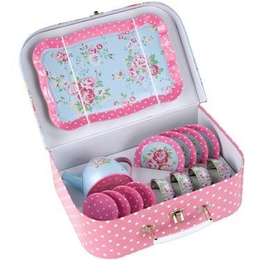 Cath Kidston Spray Flowers Tin Tea Set: Isn't this cute?  My little girl would love it!