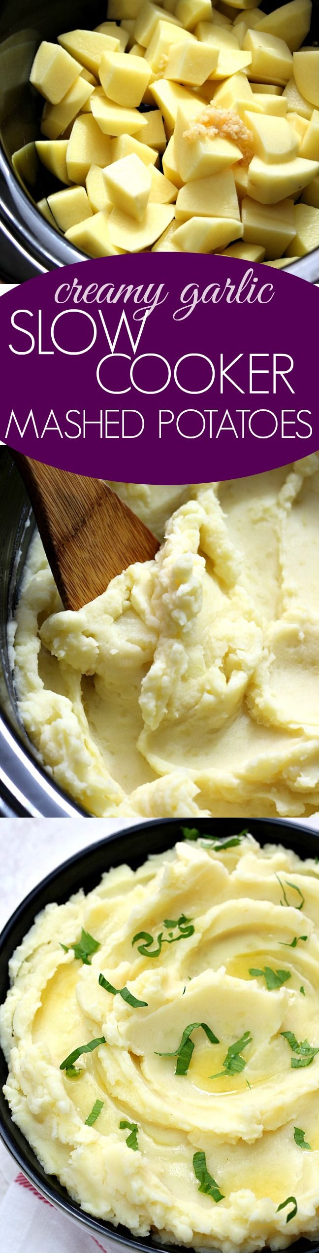 Creamy Garlic Slow Cooker Mashed Potatoes - save time and space and make the best mashed potatoes right in your crock pot! Creamy, garlicky and pure comfort food!