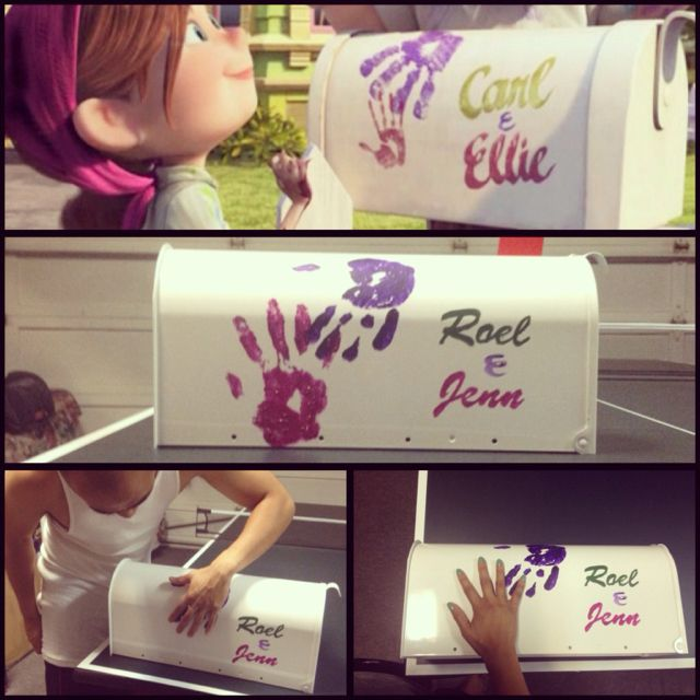 A Disney Pixar Up inspired mailbox. Use a template to paint the names, then put your own finger prints on them!