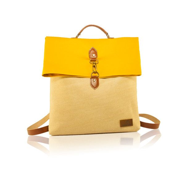Handmade Backapak, Leather Detached Straps, Canvas Backpack, Linen Sackcloth Backpack, Extra Use as a Hand Bag! Yellow