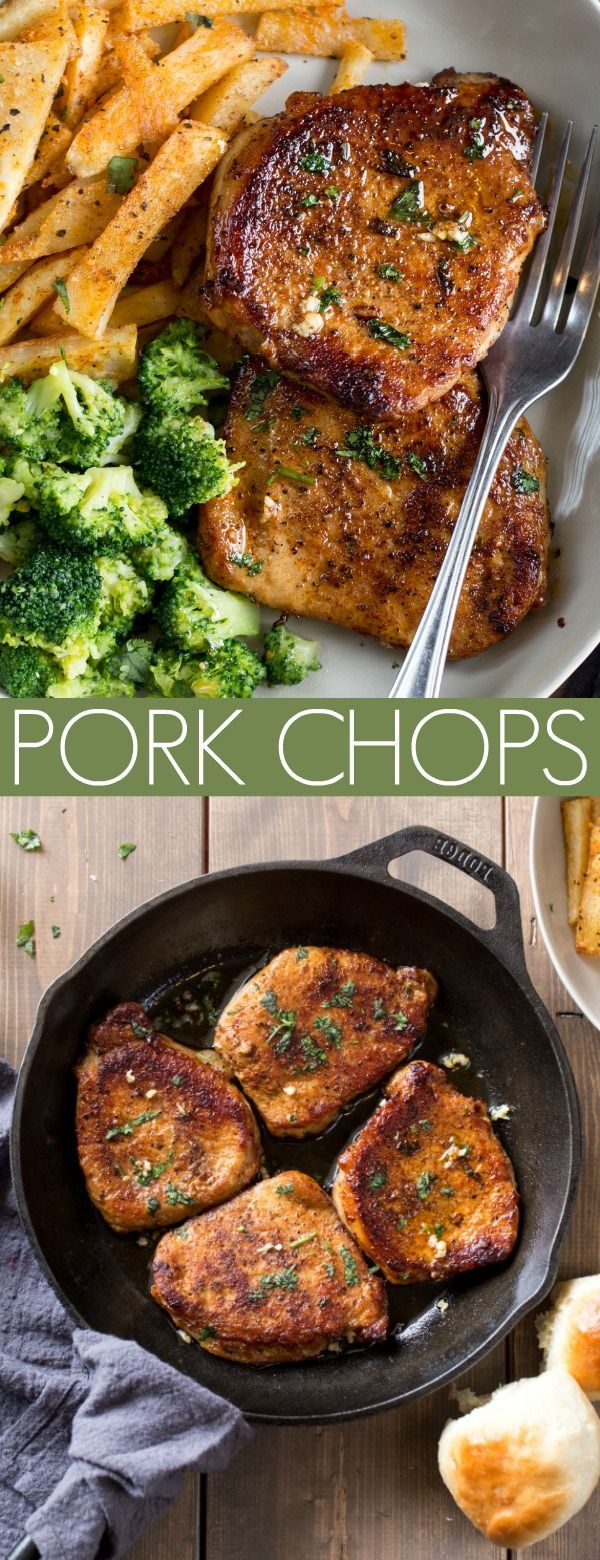 The boneless pork chops (or bone-in chops) cooked in garlic butter are so juicy …