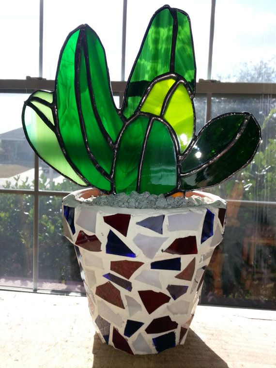 Stained+Glass+Cactus+in+Americana+Pot+by+LoneStarStainedGlass,+$37.00