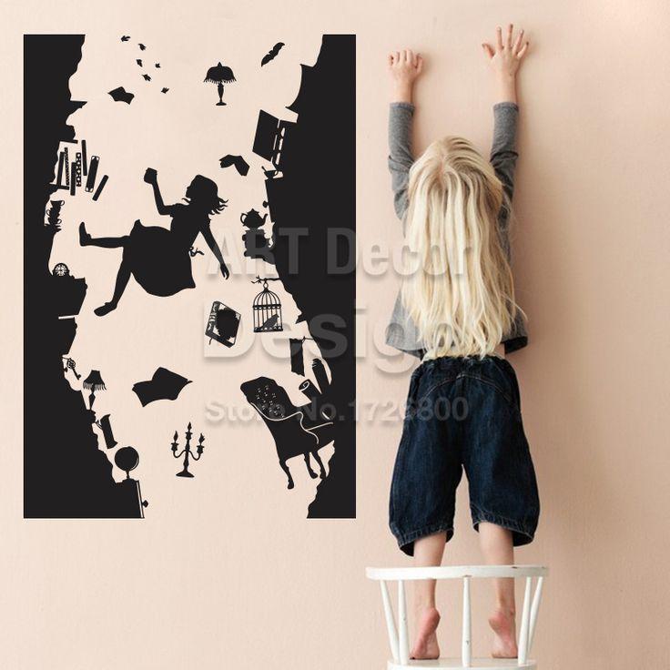 Алиса в Стране Чудес СТЕНЫ НАКЛЕЙКА Искусства Виниловые Home Decor Падения вниз по Кроличьей Норе Наклейки На Стены DIY Съемный Мультфильм дети номер купить на AliExpress
