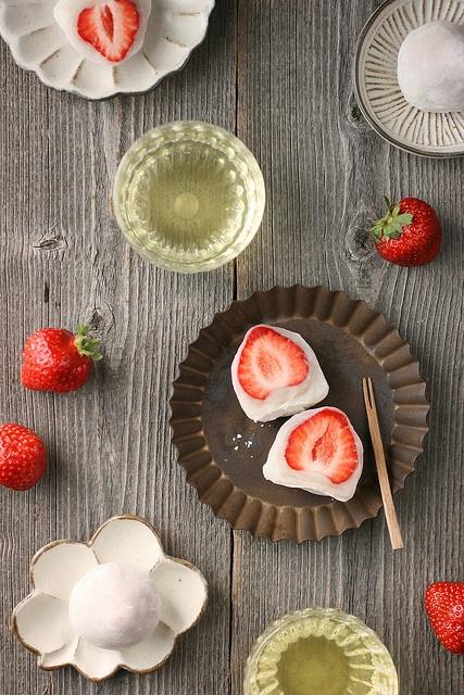 Japanese sweets -Ichigo Daifuku- (Strawberry Mochi)