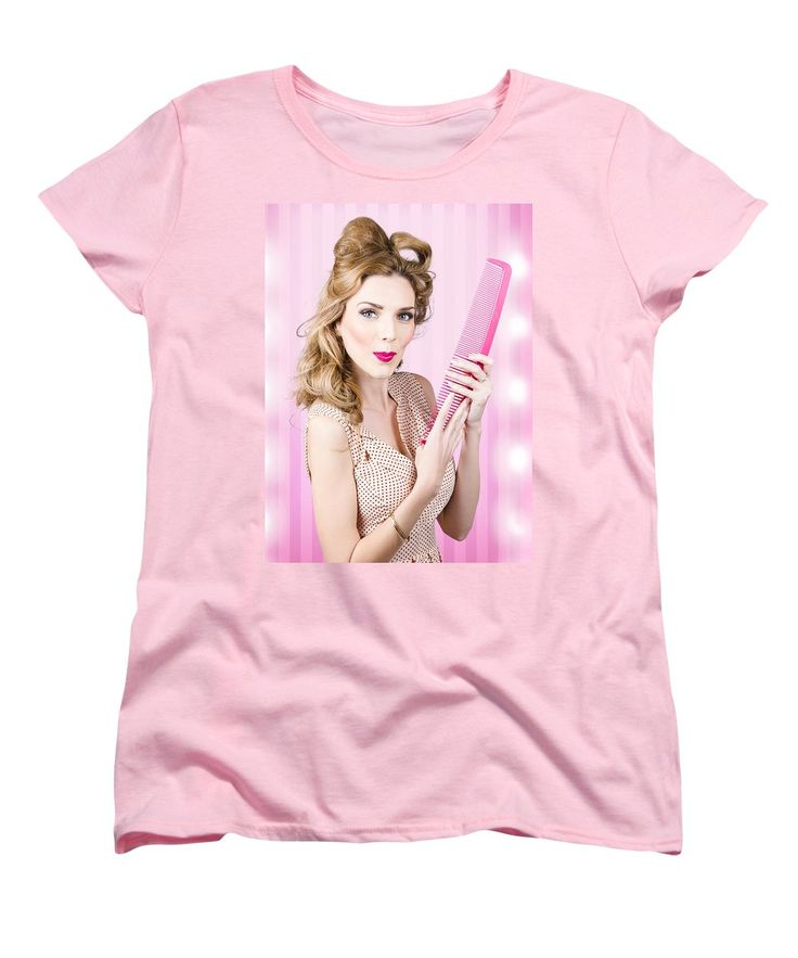 Hair Women's T-Shirt (Standard Cut) featuring the photograph Beautiful Brunette Girl With 50s Pinup Hairstyle by Jorgo Photography - Wall Art Gallery