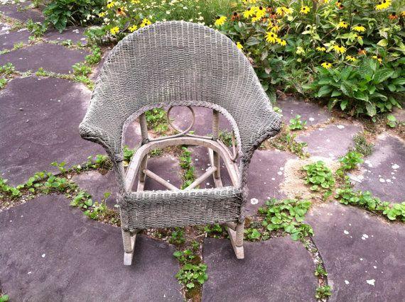 Circa 1900 Antique Hayward Wakefield Style Child's Wicker Rocking Chair