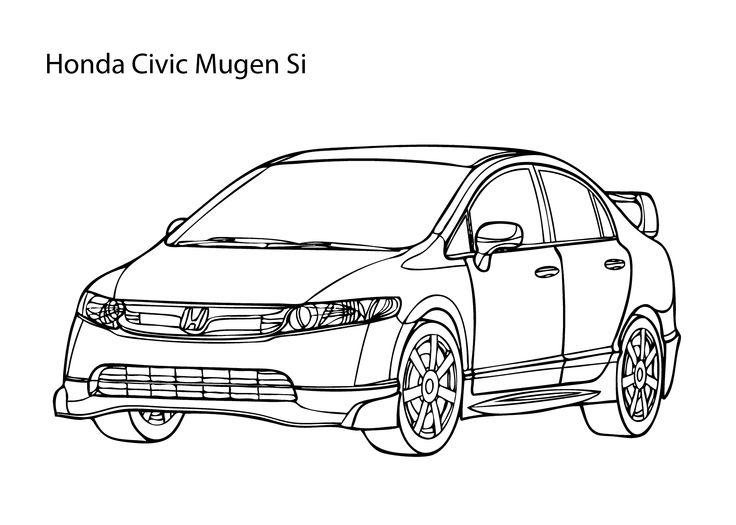 Super car Honda Civic coloring