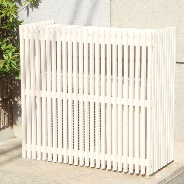 室外機カバー エアコン室外機カバー 木製ガーデン家具 モダン室外機カバー 935×900×425mm ホワイト