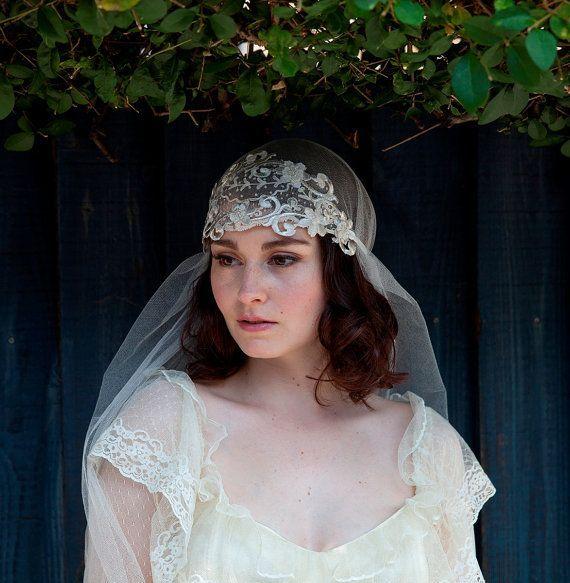 Wedding Veil seta Tulle Con Fascia Art Nouveau Bridal Veil copricapo da sposa 1920, 1910 Wedding