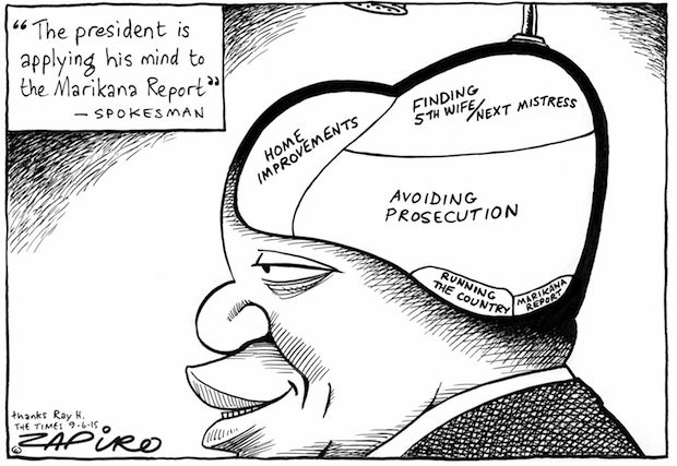 Zapiro - Jacob Applying His Mind to the Marikana Report published in The Times on 9 Jun 2015