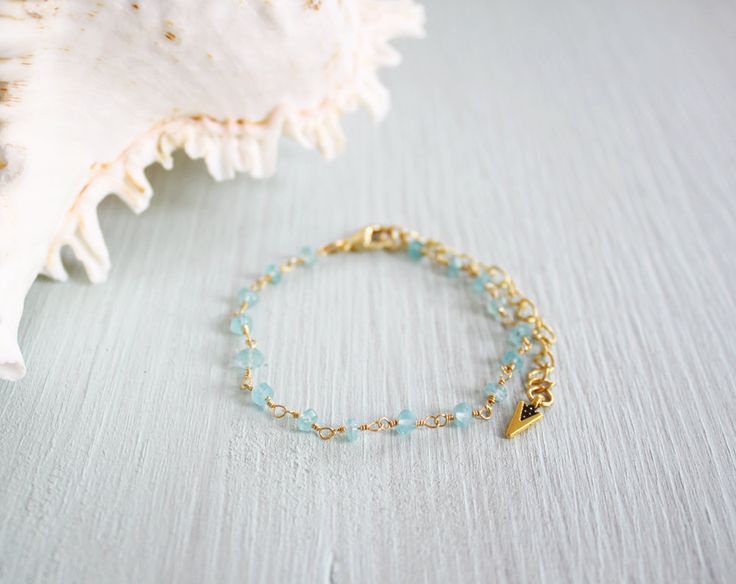 Apatite Anklet Apatite Beaded Anklet Blue by MoonTideJewellery