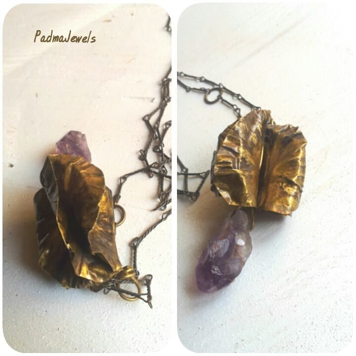 Foglia,fold forming necklace,brass and amethyst| by PadmaJewels