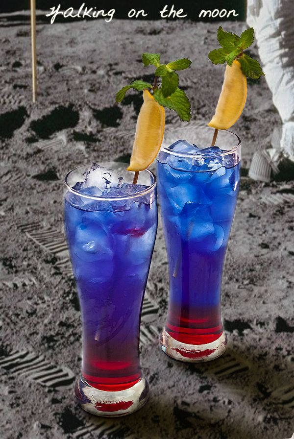 Walking on the Moon: grenadine, blue coracao, Smirnoff vodka