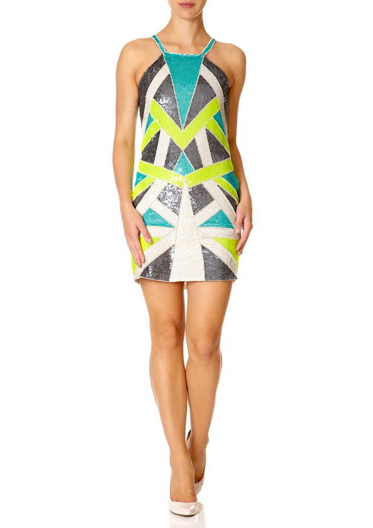 JUNO - Grey, Lime and Ivory Multi Coloured Sequinned Shift Dress