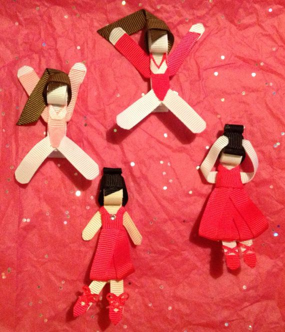 Gymnast ballerina hair clip ribbon sculpture by IsabeauGrace, $3.50