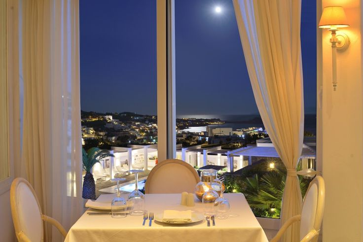 Under the moon and stars of the Mykonian sky at Thymare Restaurant...  http://www.hotelpalladium.gr/