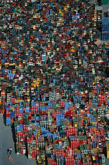feed the world . Bottle racks near Braunschweig, Germany by Yann Arthus-Bertrand