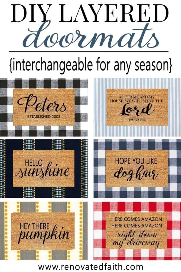 Make Layered Doormats With Fabric Interchangeable For Any Season Door Mat Diy Door Mat Front Porch Decorating