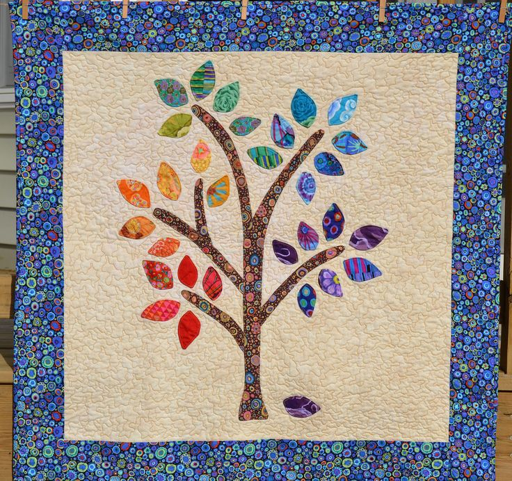 Rainbow Happee Tree Quilt with Blue Borders  by happeetreequilts, $195.00