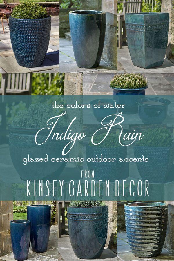 Kinsey Garden Decor Indigo Rain Ceramic Planters Large Ceramic Planters Flower Pots Outdoor Planter Pots Outdoor