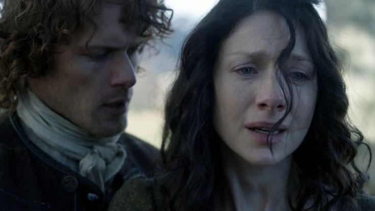 "Claire Fraser (Caitriona Balfe) and Jamie Fraser (Sam Heughan) in Episode 213 ""Dragonfly In Amber"" Outlander Season Two Finale on Starz via  https://outlander-online.com/"