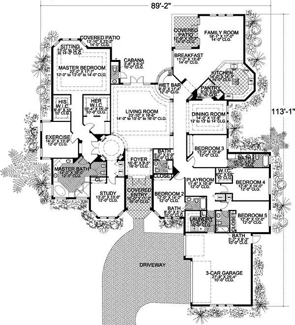 5 bedroom house floor plans. Florida Style House Plans  5131 Square Foot Home 1 Story 5 Bedroom and 4 Bath 3 Garage Stalls by Monster Plan 37 131 Pinterest