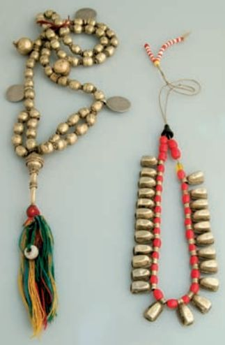 Africa | Prayer beads  and 'Tasbih' necklace from the Omoro peoples of Ethiopia | Gilded silver, brass, glass beads and wool | The Oromo Muslim women can be seen at the Sembete market wearing attractive Tasbih necklaces all made by jewellers in the region.